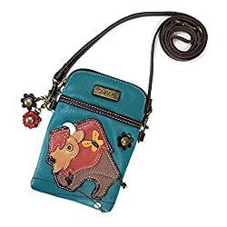 Chala Crossbody Cell Phone Purse Women Pu Leather Multicolor Handbag With Adjustable Strap Buffalo Turquoise