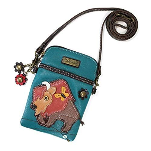 Chala Crossbody Cell Phone Purse - Women PU Leather Multicolor Handbag with Adjustable Strap - Buffalo - Turquoise