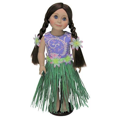 (The Queen's Treasures Hula Girl Swim Doll Clothes Outfit Bathing Suit, Hula Skirt, Floral 2 Flower Bracelets! Great Clothing & Accessories Packed with Reusable Hanger. Fits any 18-inch American Girl Doll)