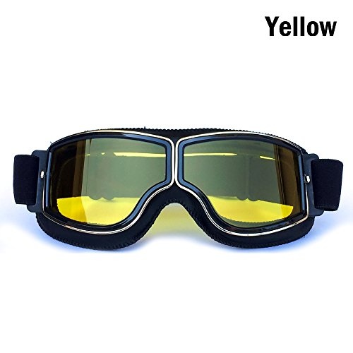 HCMAX Vintage Goggles Sports Sunglasses Helmet Steampunk Eyewear for Outdoor Motocross Racer Motorcycle Aviator Pilot Style Cruiser Scooter Goggles Retro Black Frame Yellow Lens - Cross Cruiser