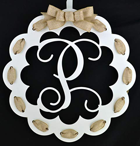 - Letter P - Monogrammed Door Hanger | Mom Gift | White and Burlap Everyday Year Letter Door Hanger