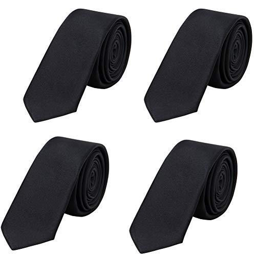AUSKY 4 PACKS Slim Tie Satin Solid Color Black Skinny neckties for Men Boys (2'' Wide D BLACK)