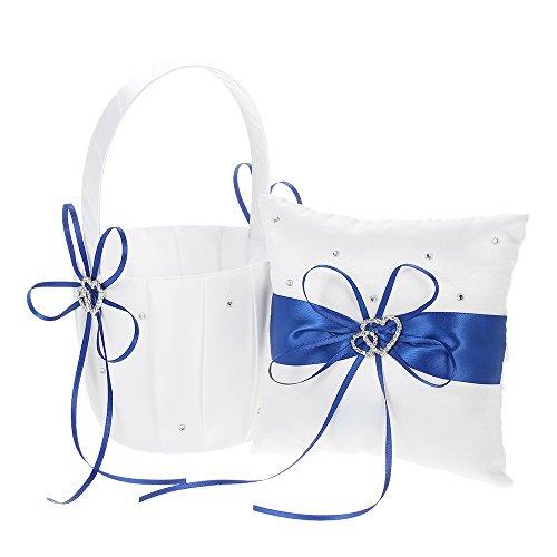 Decdeal Double Heart Satin Ring Bearer Pillow and Wedding Flower Girl Basket Set 6 x 6 inches (Heart Flower Girl Basket)
