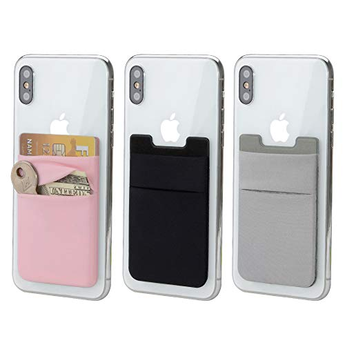 - 3 Pack Adhesive Phone Card Holder, BAIMAHUI Stretchy Credit Card Stick on Wallet Pocket Sleeve Compatible with iPhone, Samsung, Most Android Smart Phones (Black Gray Pink)