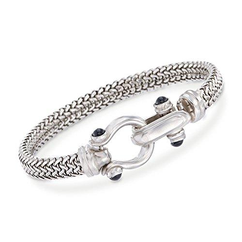 (Ross-Simons Italian Sterling Silver Horsebit Bracelet With Black Onyx)