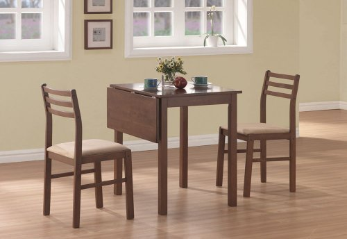 DINING SET - 3PCS SET / WALNUT SOLID-TOP DROP LEAF