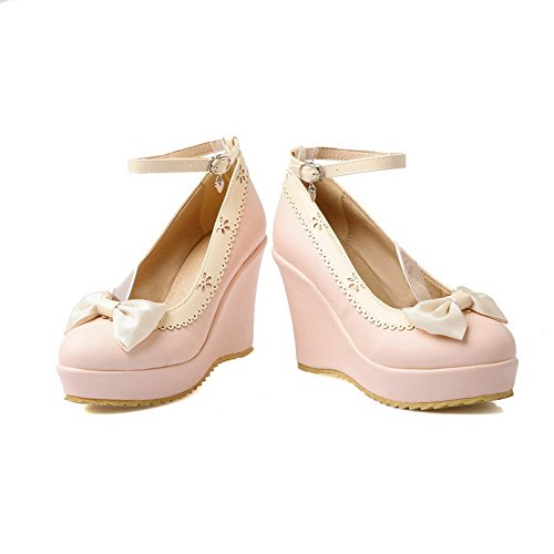 BalaMasa Ladies Ruffles Buckle Soft Material Pumps-Shoes Pink kreGmrlSv