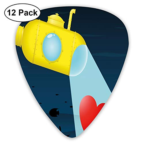 (Guitar Picks - Abstract Art Colorful Designs,Illustration Of A Underwater Submarine Finding A Heart Image,Unique Guitar Gift,For Bass Electric & Acoustic Guitars-12 Pack)