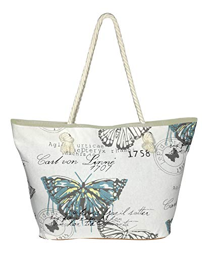Multipurpose Large Travel Beach Tote Bag, European Butterfly with Rope Handles