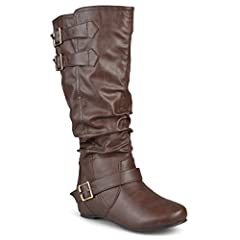 Decorative buckles and a slouchy design add a fashionable look to these faux leather boots by Journee Collection. These stylish round-toe boots feature raised seams, topstitching and easy pull-on styling. All measurements are approximate and ...
