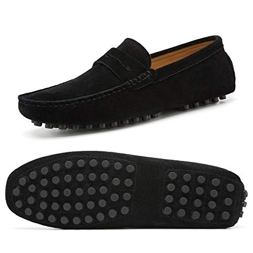 (Go Tour Men's Penny Loafers Moccasin Driving Shoes Slip On Flats Boat Shoes Black 49)