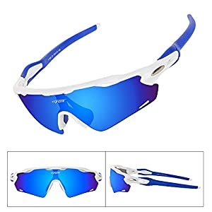 BATFOX Polarized Sport Sunglasses Glasses TAC Running Cycling Baseball Fishing Golf Softball Outdoor for Men Women Youth Interchangeable Lenses Tr90 Unbreakable Frame 100% UV Protection(Blue White)