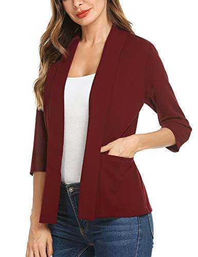 - Dealwell 3 4 Sleeve Slim Fit Open Front Blazer Jacket for Women Lightweight Solid Color Cardigan Wine Red Large