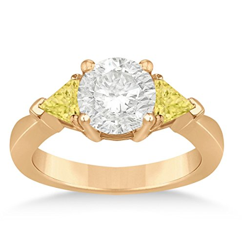 Allurez Yellow Diamond Three Stone Trilliant Engagement Ring 14k Rose Gold (0.70ct)