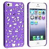 EVERMARKET(TM) Snap-on Case Compatible with Apple iPhone 5 5S , Dark Purple Bird Nest Rear
