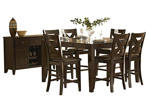 Creekmore Casual Modern 8PC Counter Height Dining Set Table, 6 Chair, Server in Merlot (Dining Set Room Merlot)