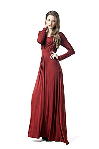 Charm Your Prince Women's Designer Round Neck Long Sleeve Maxi Dress Rust Red XL