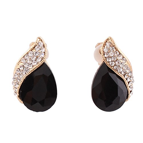 (Grace Jun Gold Plated Big Black Crystal Rhinestone Clip on earrings for Women Party Ear Clip)