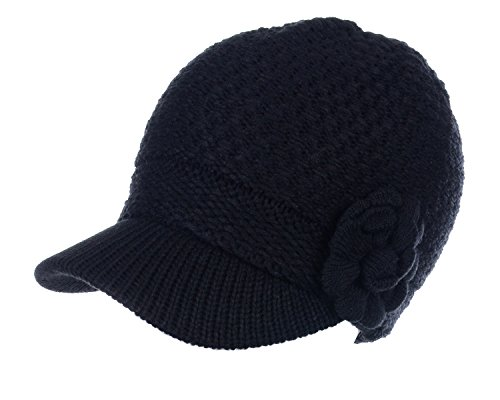 BYOS Womens Winter Chic Cable Knitted Newsboy Cabbie Cap Beret Beanie Hat with Visor, Warm Plush Fleece Lined, Many Styles (Waffle Knit W/Flower - Black)