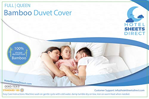 Hotel Sheets Direct 100% Bamboo Duvet Cover 3 Piece Set - Better Than Silk - 1 Duvet Cover, 2 Pillow Shams with Corner Ties and Zipper Closure - Full/Queen, White ()