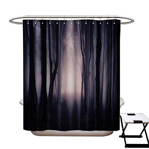 BlountDecor Forest Shower Curtains 3D Digital Printing Path Through Dark Deep in Forest with Fog Halloween Creepy Twisted Branches Picture Custom Made Shower Curtain W48 x L72 Pink Brown