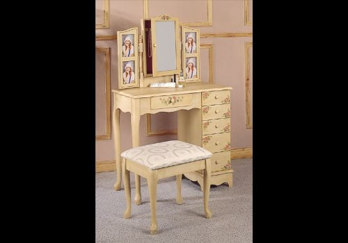 Amazon com  Coaster Queen Anne Style Vanity Table and Stool Bench Set  Hand  Painted  Kitchen   Dining. Amazon com  Coaster Queen Anne Style Vanity Table and Stool Bench
