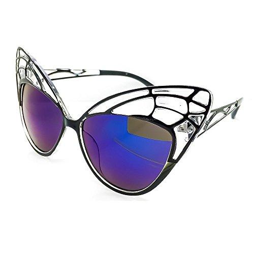 rétro PAPILLON Lunettes Bleu EXTRAVAGANT Yeux de de cool mod soleil Chat rockabilly de FEMMES de Kiss Noir des mode A488w