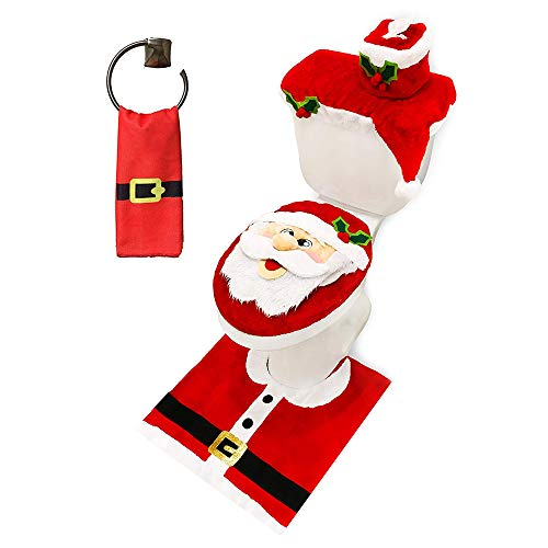 JOYIN 5 Pieces Christmas Santa Theme Bathroom Decoration Set Includes Toilet Seat Cover, Rugs, Tank Cover, Toilet Paper Box Cover and Santa Towel for Xmas Indoor Décor, Party Favors (Santa Bathroom Accessories)