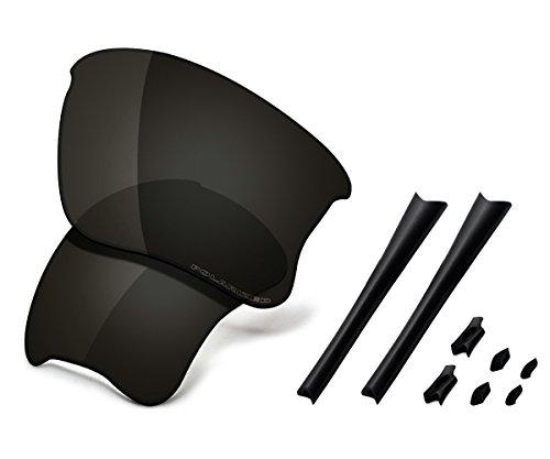 Saucer Premium Replacement Lenses & Rubber Kits for Oakley Flak Jacket XLJ Sunglasses High Defense - Carbon Black Polarized ()