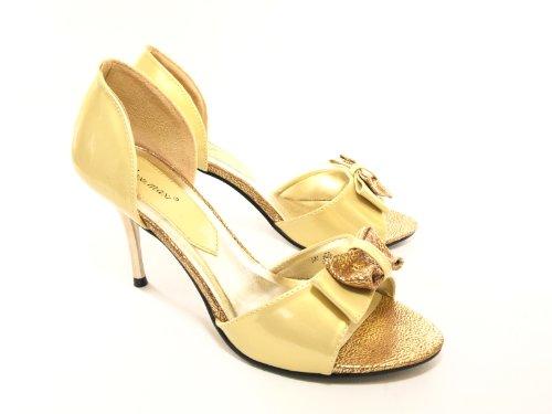 Damen Abendschuhe Pumps Gold # 007