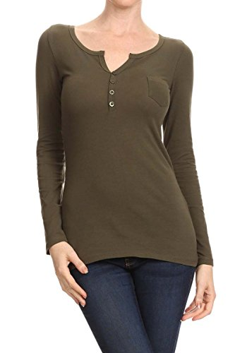 Olive Ladies Button Trimmed Jersey Henley Knit Shirt
