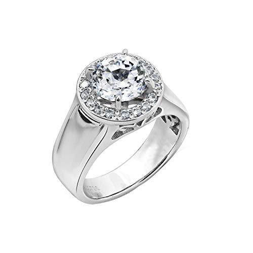 Diamonbliss Platinum Plated Sterling Silver 100-Facet Cubic Zirconia Wide Band Halo Ring Size-8