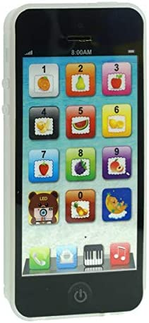 Cooplay Black Yphone Y-Phone Phone Toy Play Music Learning English Educational Cell Phone Mobile Gift Prize for Baby Kids Children