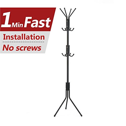 Free Display Stand Hall Tree with 3 Tiers and 12 Hooks for Clothes Scarves Purses and Hats (Jacket Assembly)