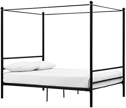 Mainstays Easy to Assemble Modern Design Sturdy Metal Frame Four Post Canopy Bed Full, Black