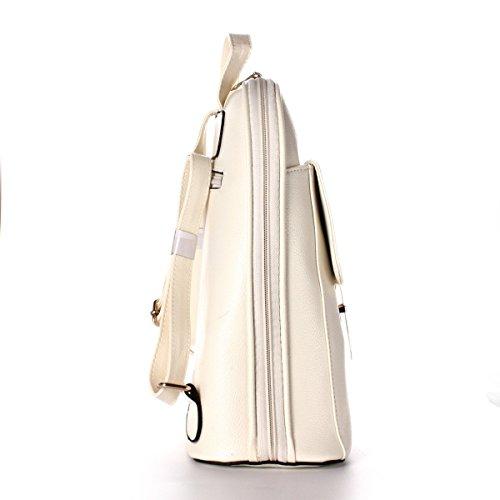 OUMIZHI Vintage Schulter Rucksack PU Leder für Schule Etwas Reise Backpack Damen Beige