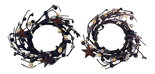Candle Rings Berry Star - OBI Berry Metal Star Candle Rings Mini Wreaths 2pk - Country Primitive Small Floral Decor - Dark Grey, Green, and Cream Faux Berries