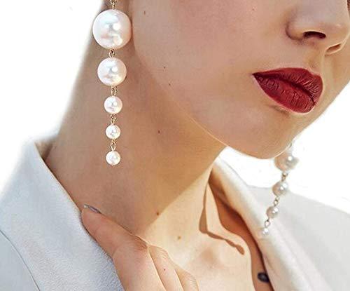 Clip on Earrings Long Pearl Dangle Earrings Big Pearl Earrings Great for Brides or Bridesmaids Girls Gold