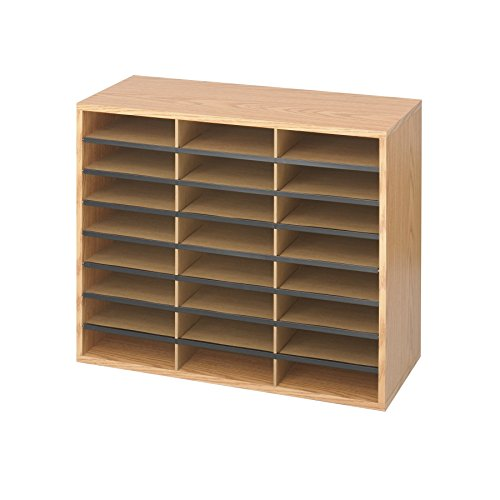 (Safco Products Wood/Corrugated Literature Organizer, 24 Compartment, 9402MO, Medium Oak, Economical Organization, Letter-Size Compartments)