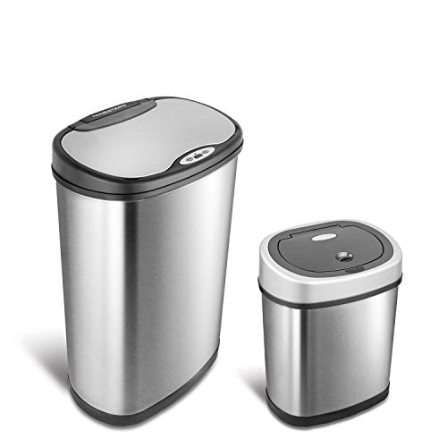 Ninestars el Original Touchless Sensor automático de Movimiento Trash Can Combo Set, Stainless & Silver Black, 1