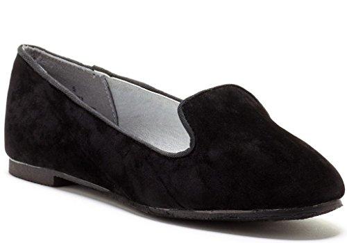 Carrini 52-533 Moda Para Mujer All-vegan Adorable All-purpose Faux Suede Smoking Holgazanes Negro
