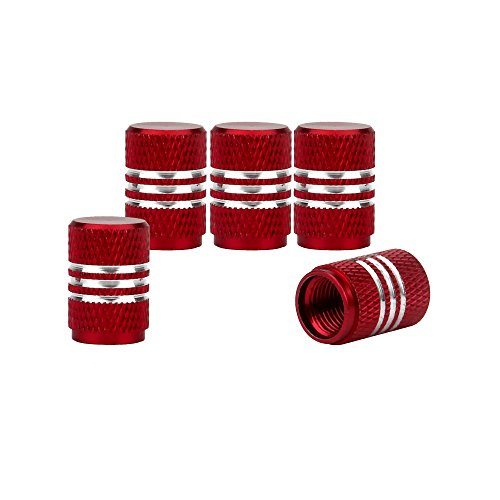 Tire Valve Caps - Senzeal 5x Aluminum Alloy Car Tire Valve Stem Caps Round Style Air Covers Red