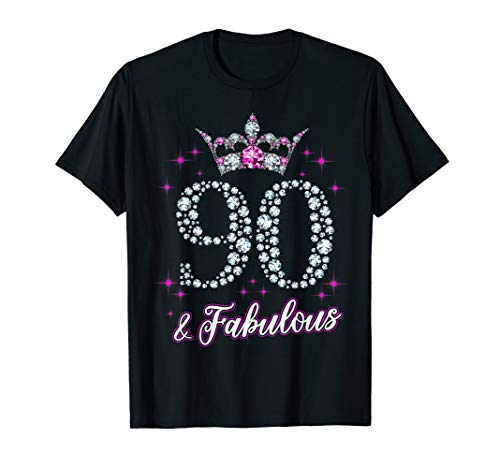 Womens 90 And Fabulous 1929 90Th Birthday Gift T-Shirt]()