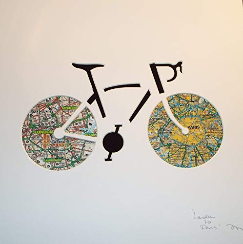 f1bbe61da36 London to Paris Cycling Bicycle Art for Cyclists Personalised Cycling Maps  Art Road Bike