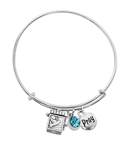 Aqua Colored Stone (Prayer Box Bangle Bracelet With Stone, Opening Prayer Box, and PRAY Charm (Aqua))