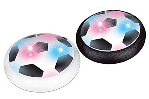 (QTMY Air Power Soccer Disk Indoor Outdoor Hover Football Kids Toys (Black and White(2 pcs)))
