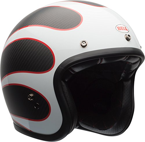 Bell Custom 500 Carbon Open-Face Motorcycle Helmet (Ace Cafe Tonup Black/White, Large)