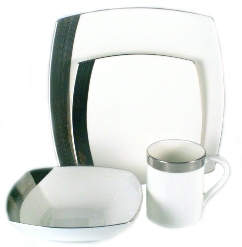 Mikasa Ridge Square Platinum 4-Piece Place Setting, Service for 1