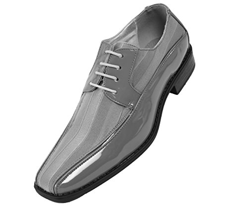 grey shoes for wedding. viotti mens striped satin and patent tuxedo oxford, classic lace-up formal dress shoe, style 179 grey shoes for wedding