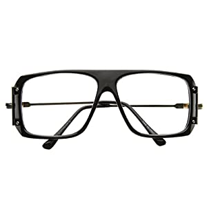 zeroUV - Vintage Inspired Square Clear Lens Glasses (Black)